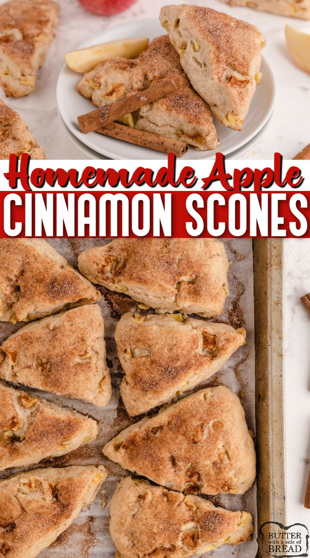 Apple Cinnamon Scones made with fresh apples and topped with cinnamon and sugar. Delicious homemade scone recipe that is great for breakfast or a sweet treat!