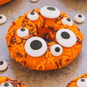 orange donut with monster eyes for Halloween