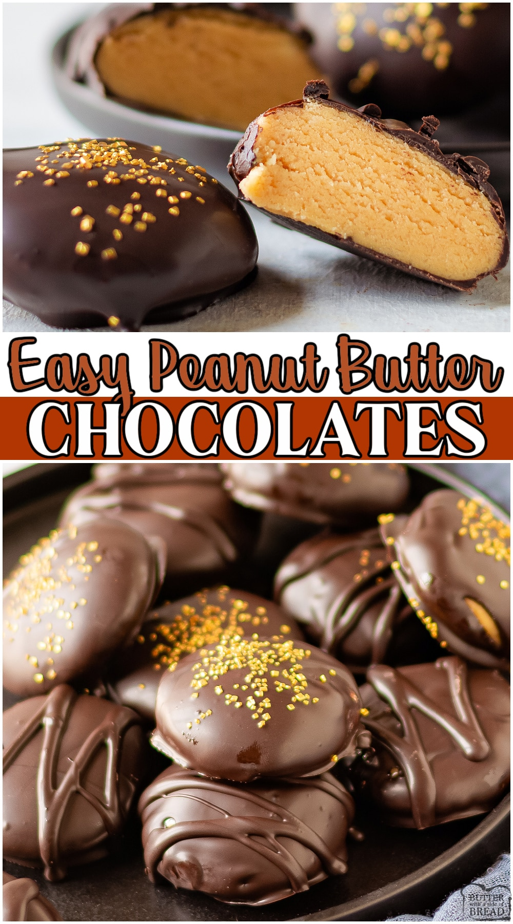 Homemade Chocolate peanut butter candy made with peanut butter, chocolate, powdered sugar, butter & vanilla! Fancy peanut butter chocolates made easy at home & perfect for gift giving! #chocolate #peanutbutter #candy #nobake #easyrecipe from BUTTER WITH A SIDE OF BREAD