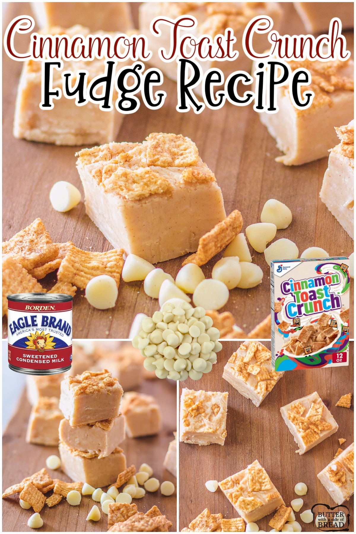 Cinnamon toast crunch fudge made easy with white chocolate, sweetened condensed milk & Cinnamon toast Crunch cereal! Fun & tasty cinnamon fudge with crunchy cereal topping that everyone loves!