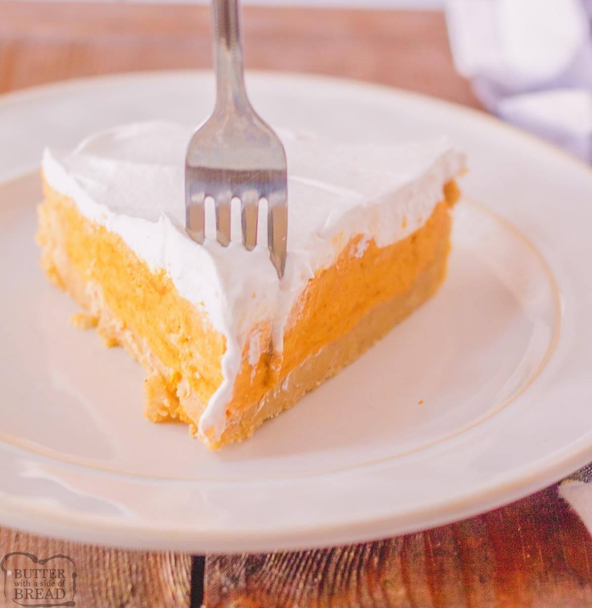 slice of no bake pumpkin pie with a fork