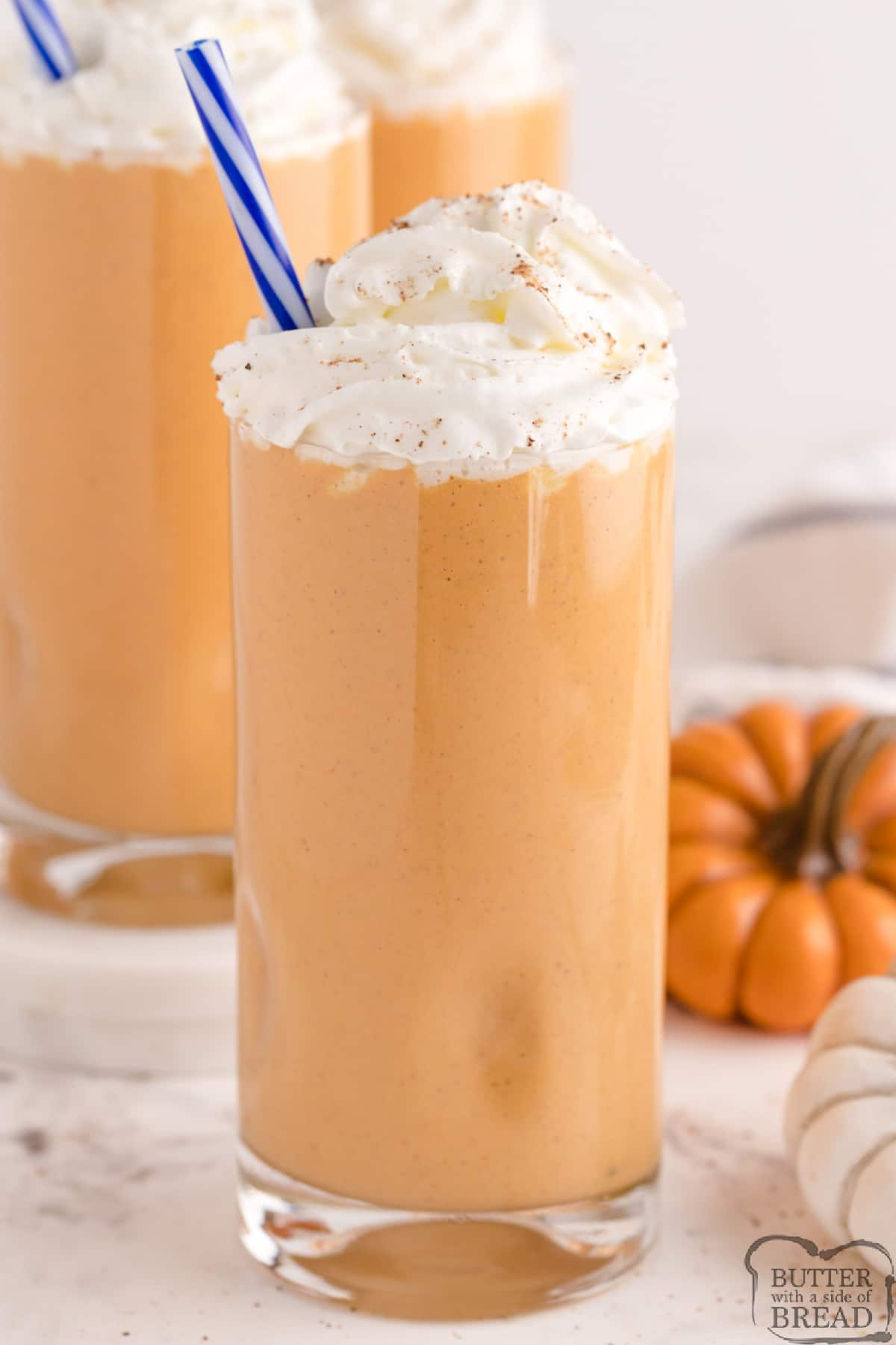 Pumpkin Milkshakes made with real pumpkin and vanilla ice cream! Perfect fall treat that is ready in less than 5 minutes!