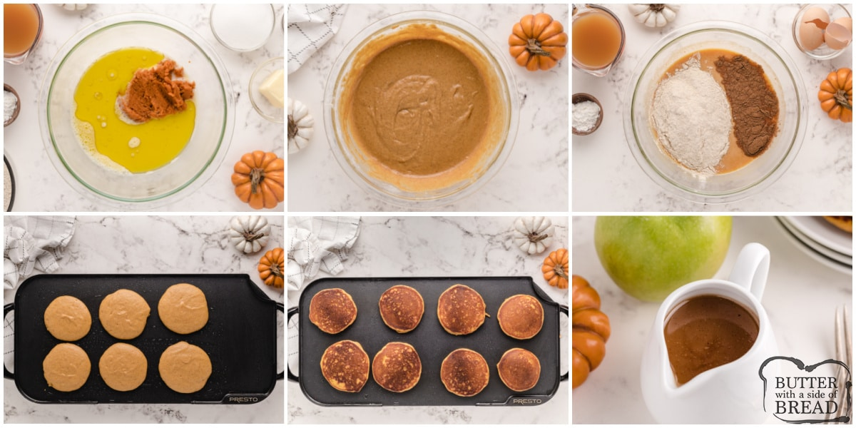 Step by step instructions on how to make pumpkin pancakes with apple cider syrup