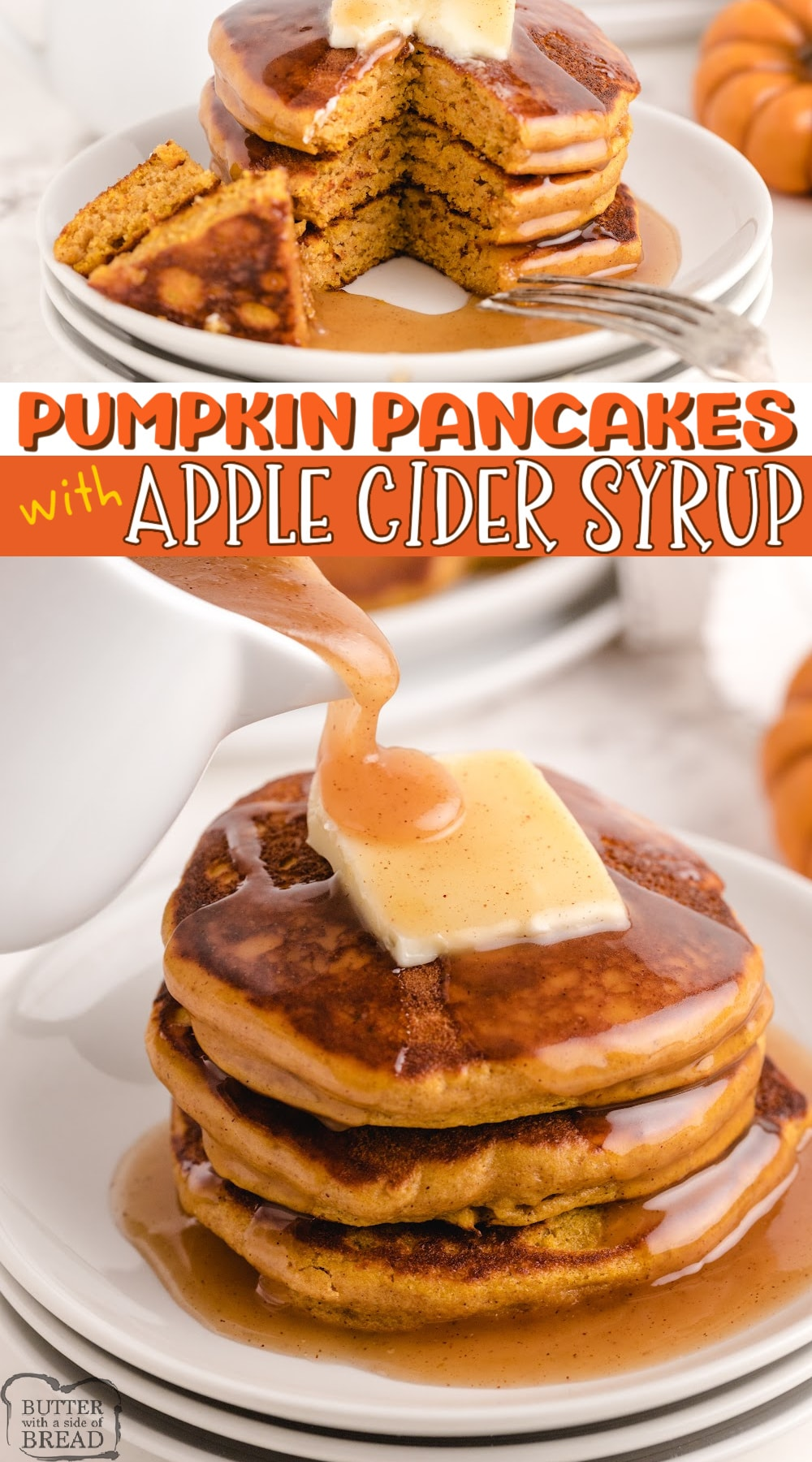 Pumpkin Pancakes with Apple Cider Syrup begin with a pancake mix for an easy fall breakfast. The pancakes are full of pumpkin flavor and the homemade syrup is absolutely incredible!