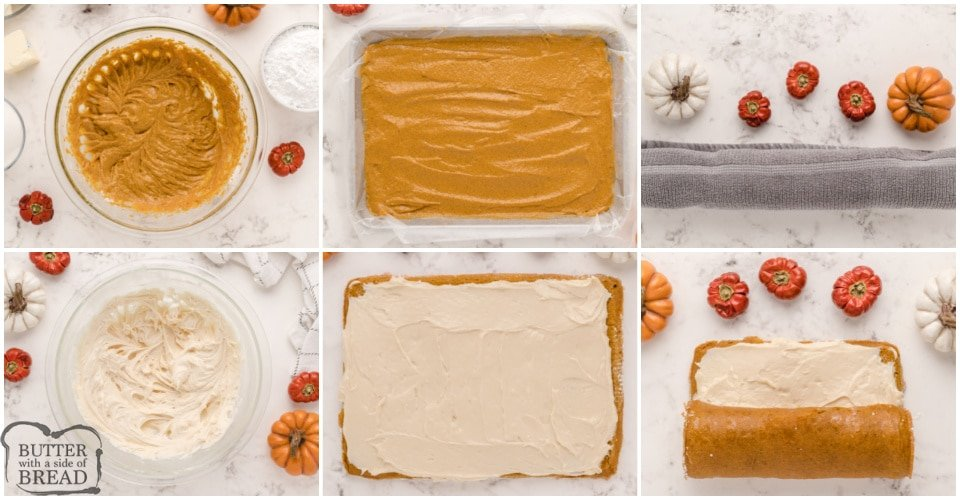 Step by step instructions on how to make pumpkin roll recipe