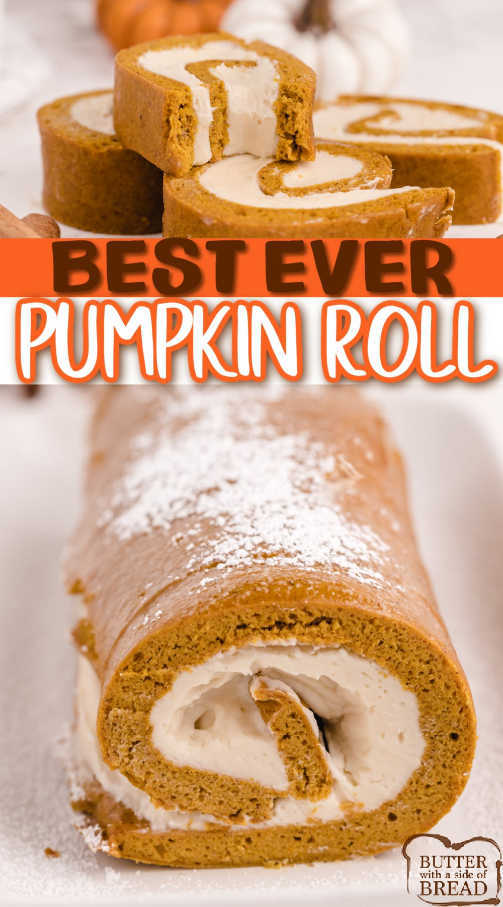 Pumpkin Roll recipe that turns out perfectly every time! Easy pumpkin cake that is topped with a cream cheese frosting, then rolled up and sliced.