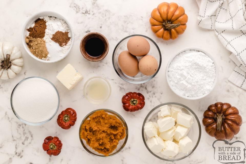 Ingredients in Pumpkin Roll recipe