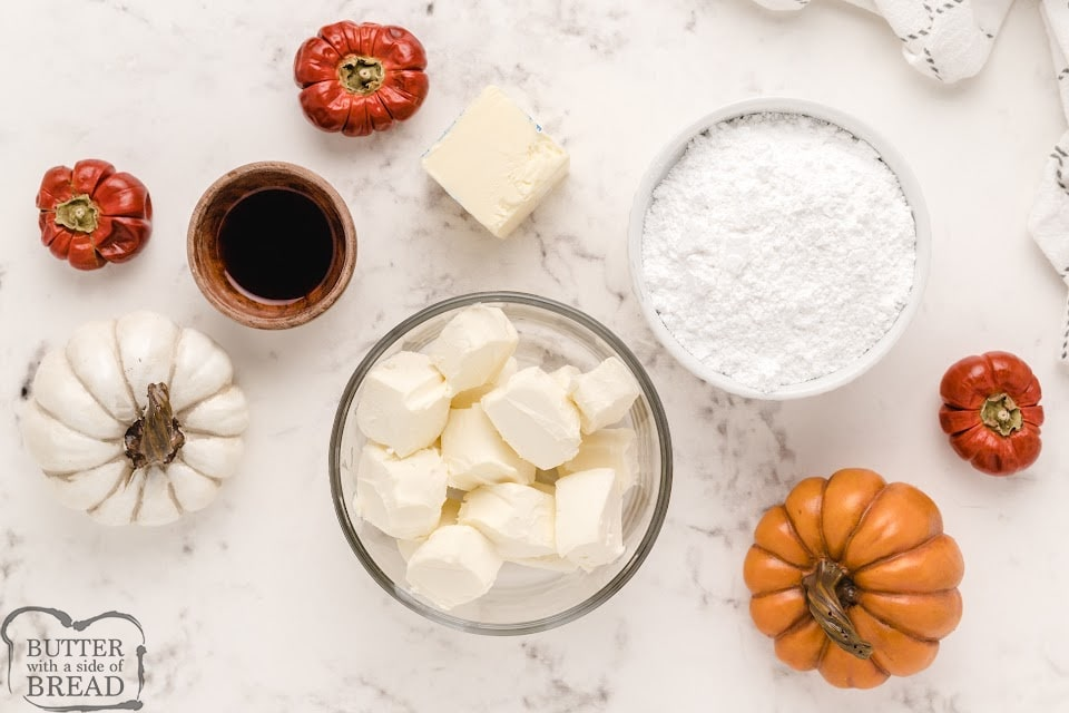 Ingredients in cream cheese frosting for Pumpkin Cake Roll