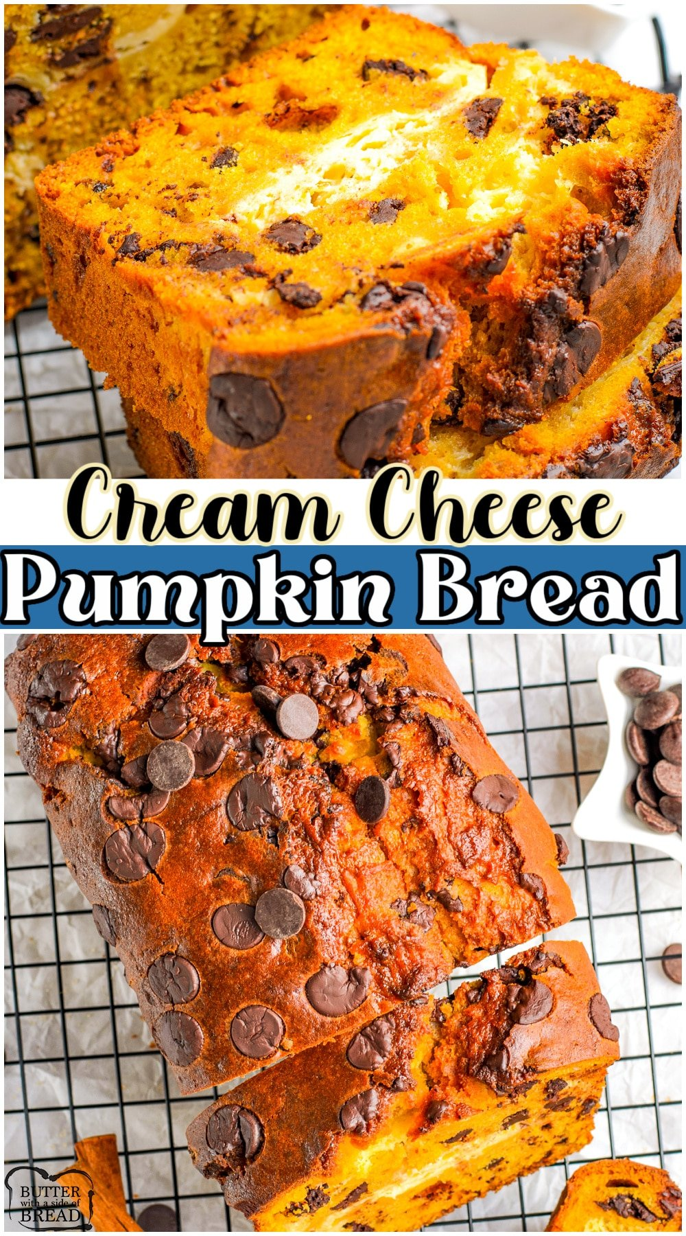 Spiced pumpkin cream cheese bread, packed with Fall flavors like pumpkin, cinnamon, ginger & nutmeg! Pumpkin sweet bread with a lovely swirl of cream cheese in the middle & topped with chocolate chips!