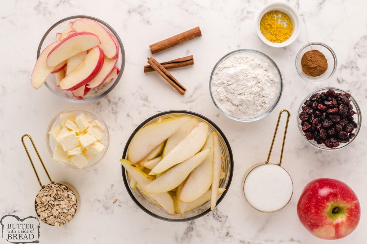 Ingredients in Fall Fruit Breakfast Crumble