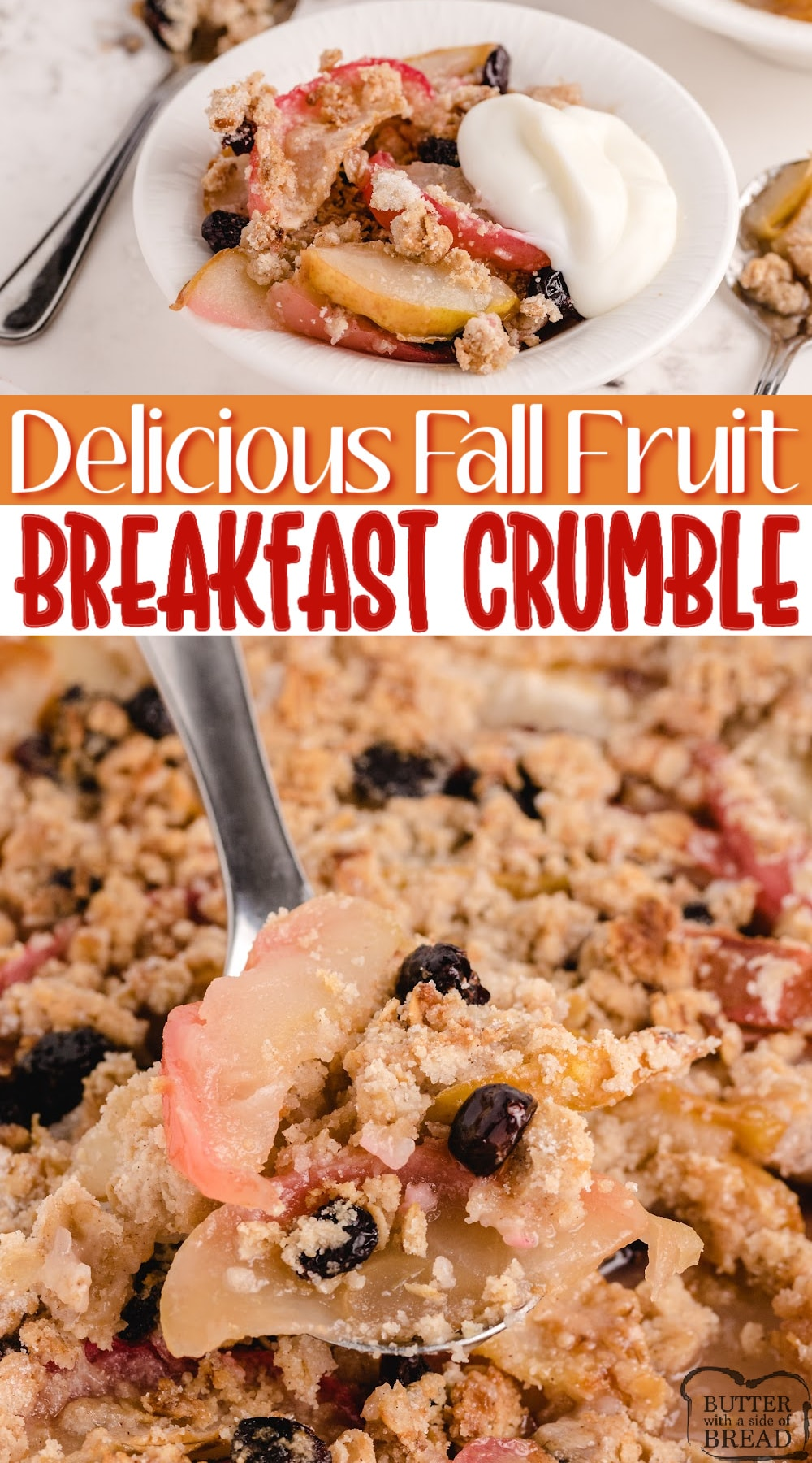 Fall Fruit Breakfast Crumble made with sliced apples, pears and dried cranberries with a delicious cinnamon oat topping! Add some yogurt for a delicious breakfast, or add ice cream and serve as a dessert!