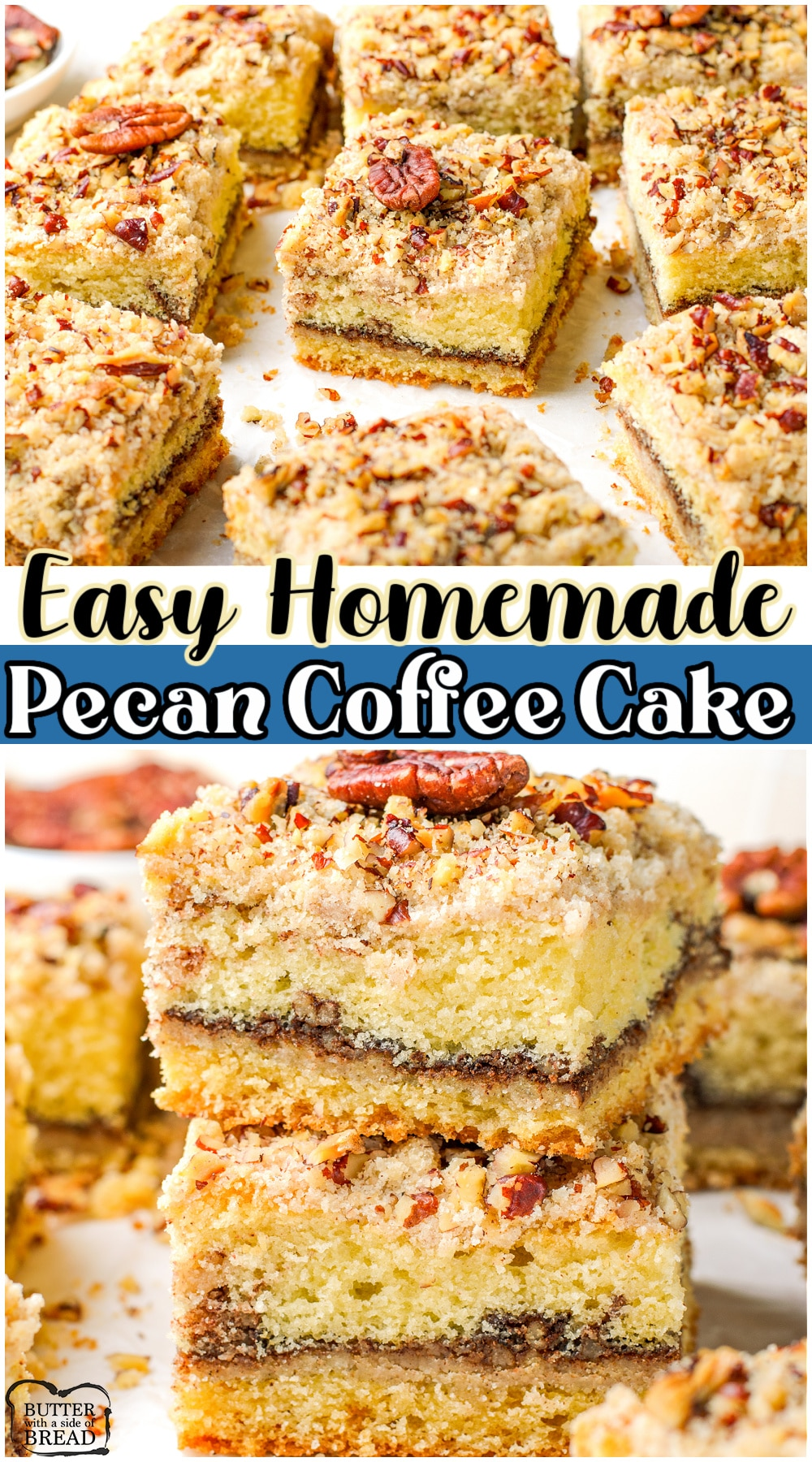 Homemade Pecan Coffee Cake made easy with classic ingredients, including a buttery spice pecan streusel. Fantastic flavor in this simple breakfast cake recipe that everyone loves!