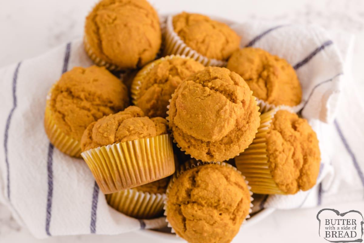 Batch of pumpkin muffins made with cornmeal