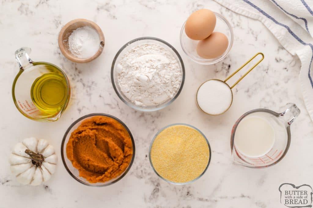Ingredients in Pumpkin Corn Muffins