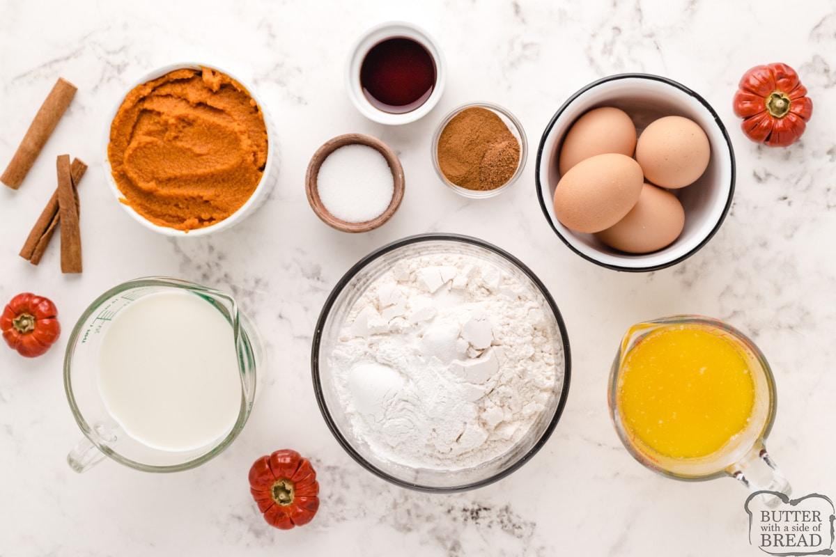 Ingredients in perfect pumpkin waffles