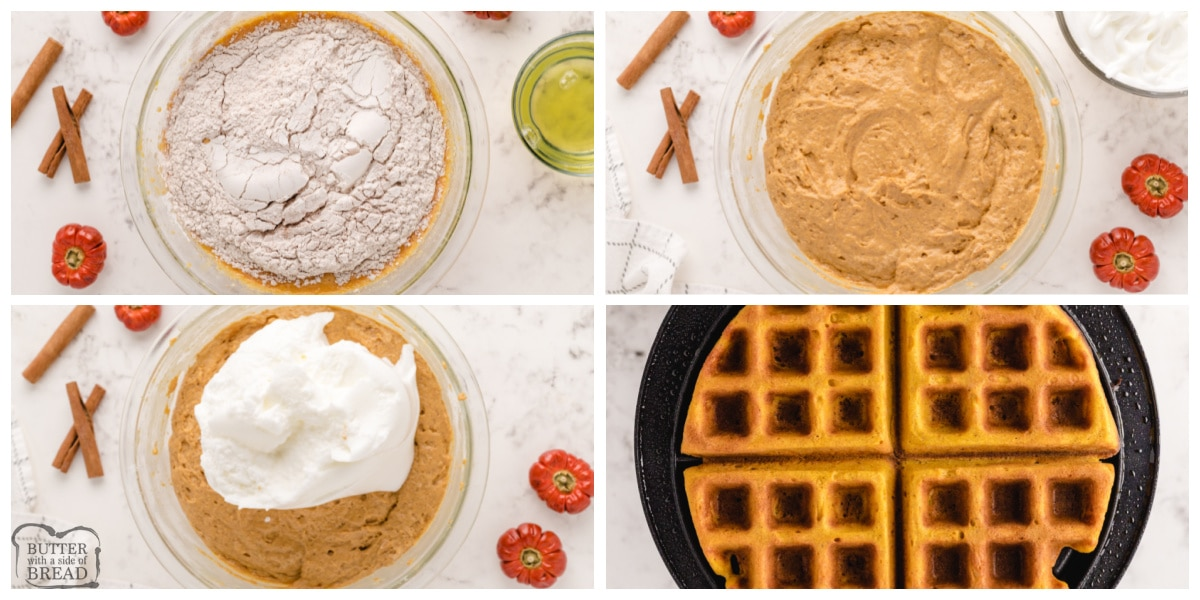 Step by step instructions on how to make perfect pumpkin waffles