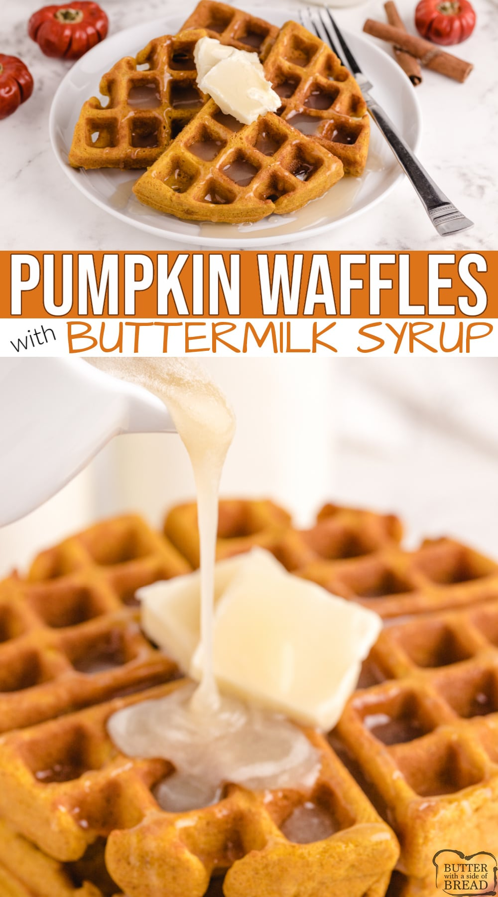 Pumpkin Waffles with Buttermilk Syrup are a favorite fall breakfast. Easy pumpkin waffle recipe made with canned pumpkin and then topped with a simple homemade syrup that is incredible!