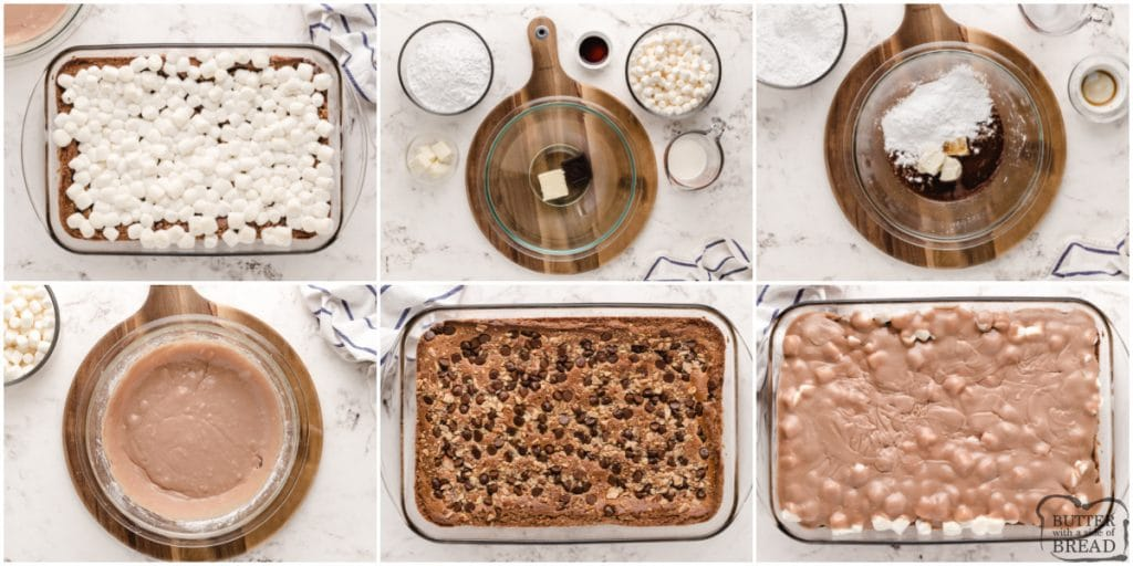 Step by step instructions on how to make top layer of chocolate marshmallow bars