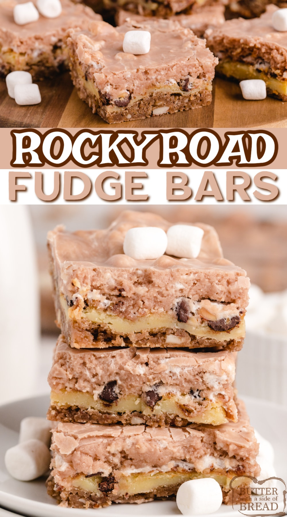 Rocky Road Fudge Bars made with three layers of chocolate, marshmallows and almonds. Delicious Rocky Road dessert recipe that is easy to make and tastes like a cross between cheesecake and fudge!